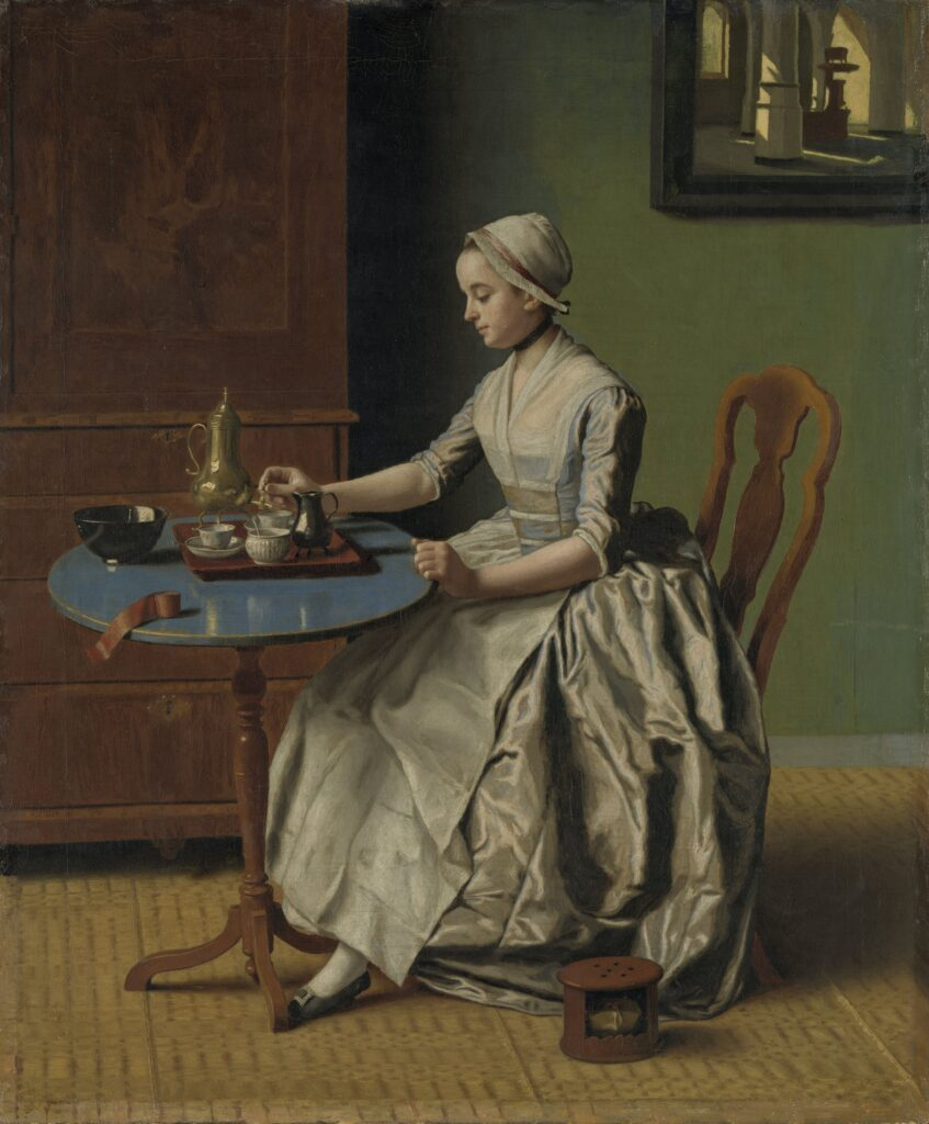 O doamnă care toarnă ciocolată. Pictură, Jean-Étienne Liotard (1744)