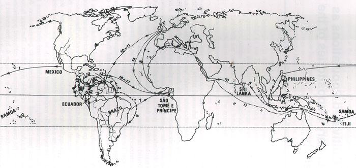 Harta răspândirii arborelui de cacao