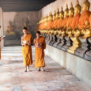 călugări budiști cu robe galbene, în culoarea șofranului